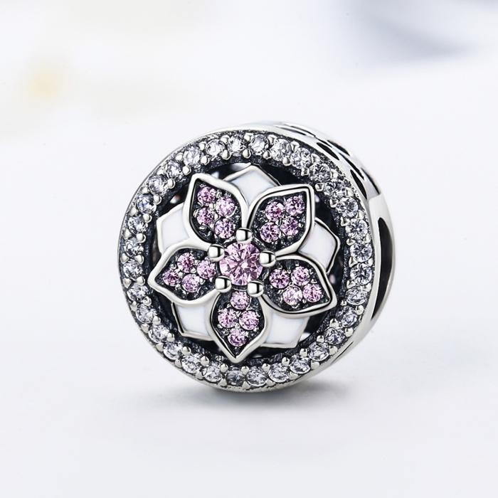 Charm argint 925 cu floare si zirconii albe si roz - Be Nature PST0081 3