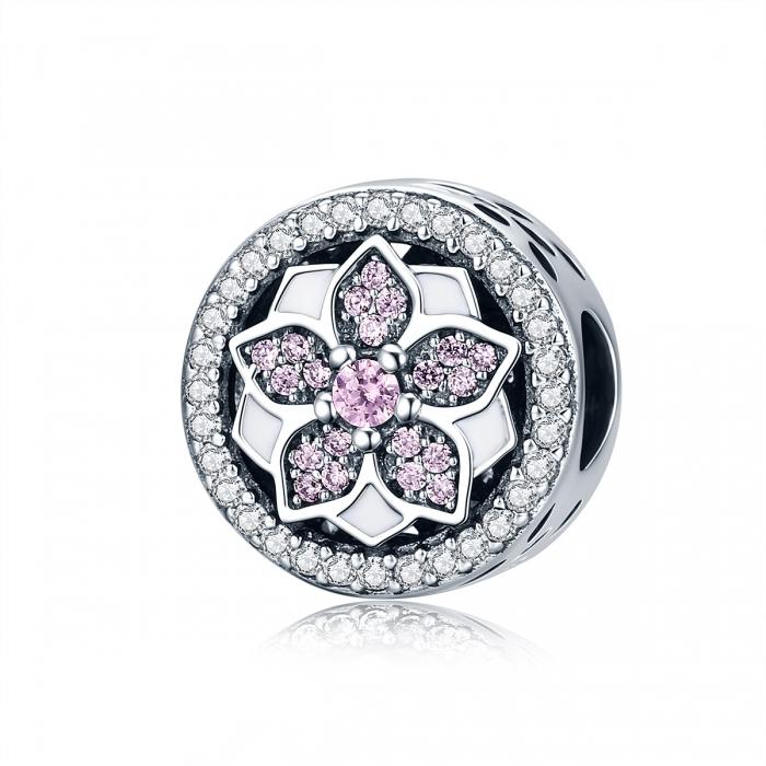 Charm argint 925 cu floare si zirconii albe si roz - Be Nature PST0081 0