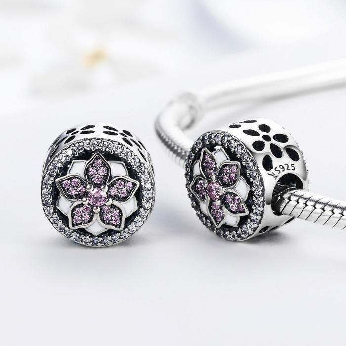 Charm argint 925 cu floare si zirconii albe si roz - Be Nature PST0081 1
