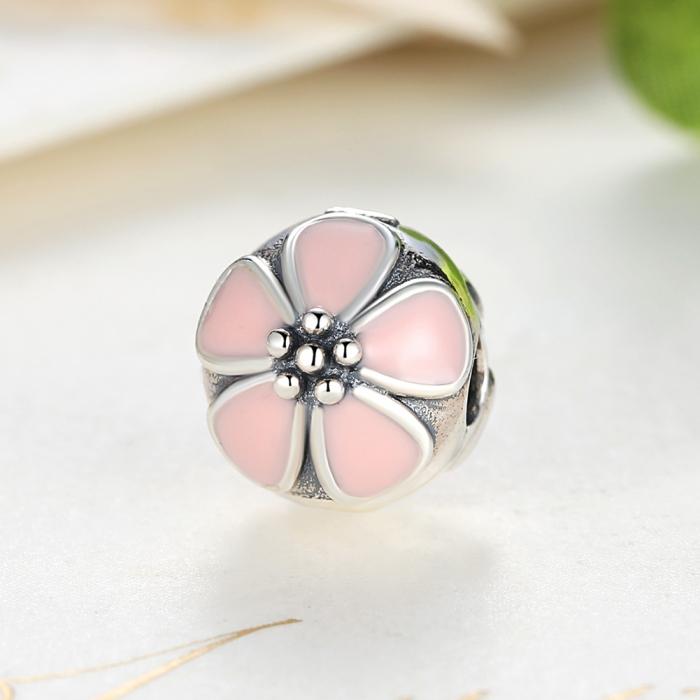 Charm argint 925 cu floricele roz - Be Nature PST0018 4