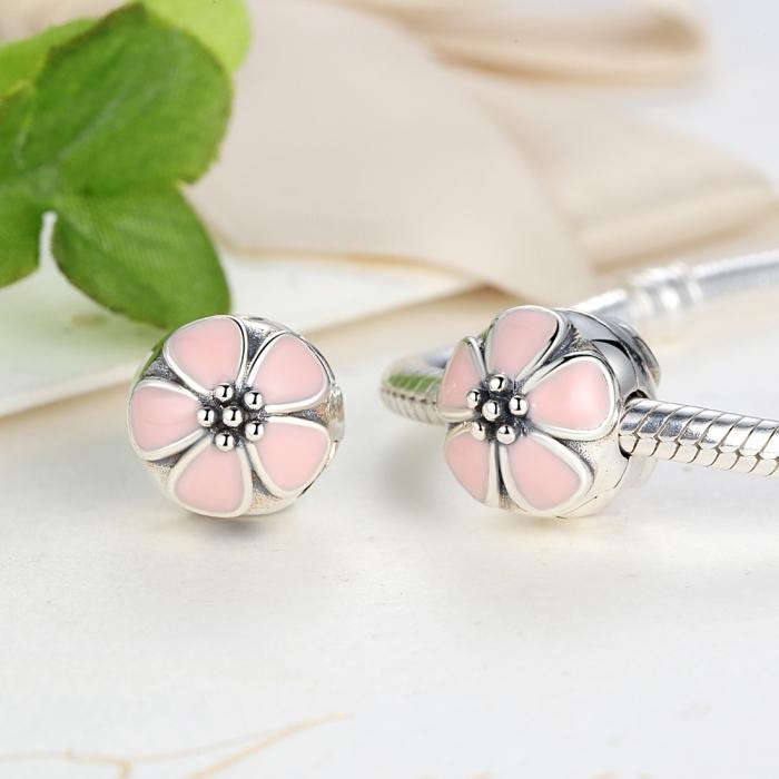 Charm argint 925 cu floricele roz - Be Nature PST0018 3