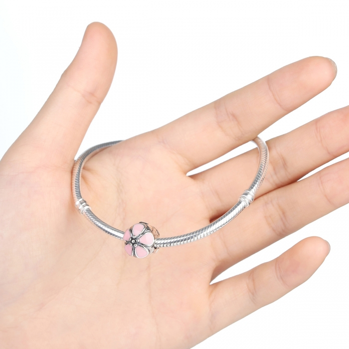 Charm argint 925 cu floricele roz - Be Nature PST0018 2