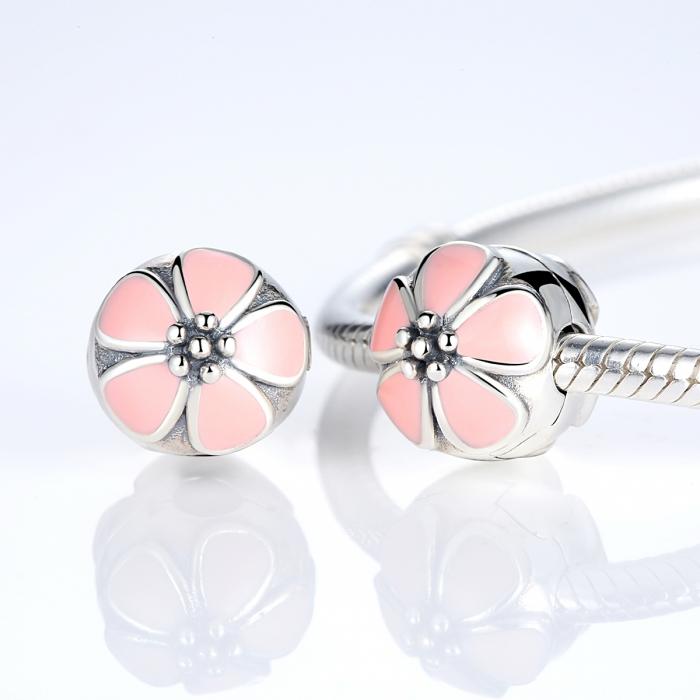 Charm argint 925 cu floricele roz - Be Nature PST0018 1