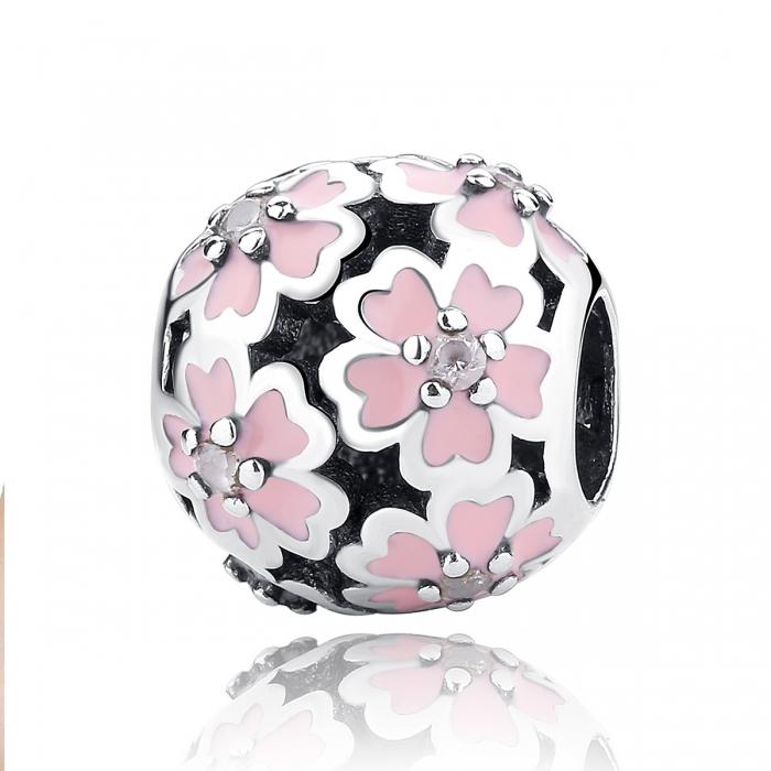 Charm argint 925 cu floricele roz si zirconii albe - Be Nature PST0023 [0]