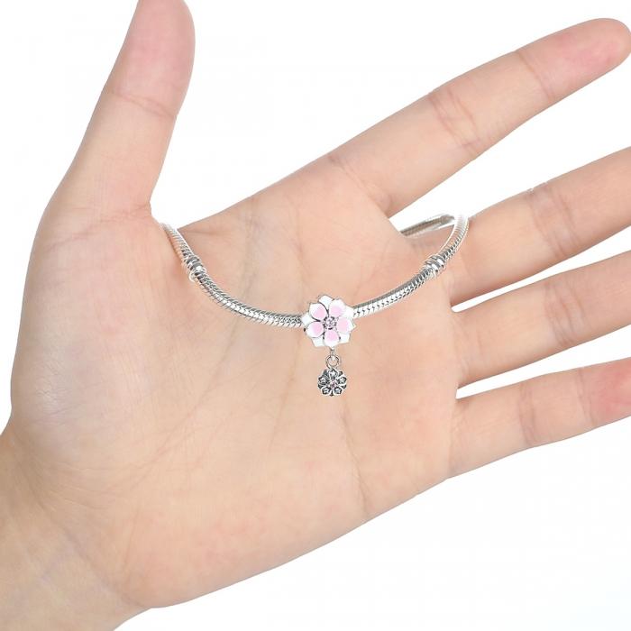 Charm argint 925 cu floricele roz si zirconii albe si roz - Be Nature PST0050 3