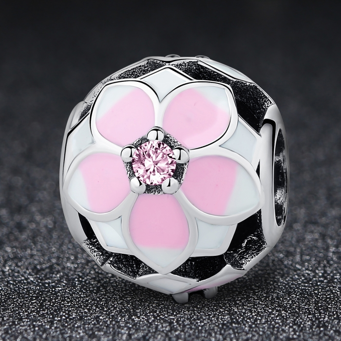 Charm argint 925 cu floricele roz si zirconii albe si roz - Be Nature PST0051 1