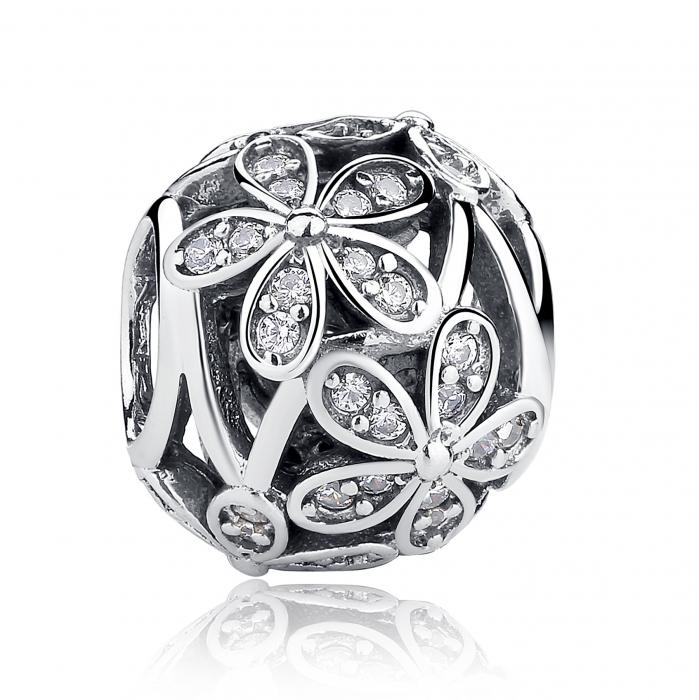Charm argint 925 cu floricele si zirconii albe - Be Nature PST0014 0