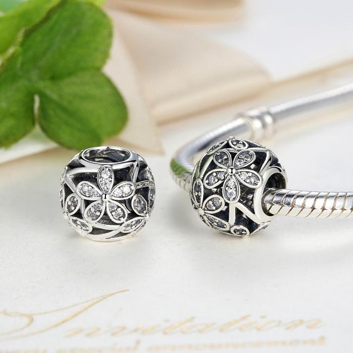 Charm argint 925 cu floricele si zirconii albe - Be Nature PST0014 3