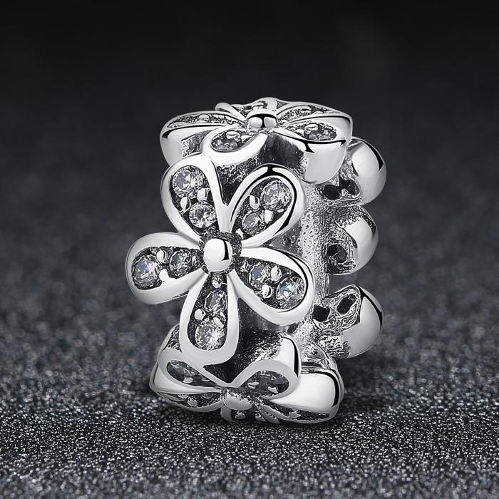 Charm argint 925 cu floricele si zirconii albe - Be Nature PST0052 1