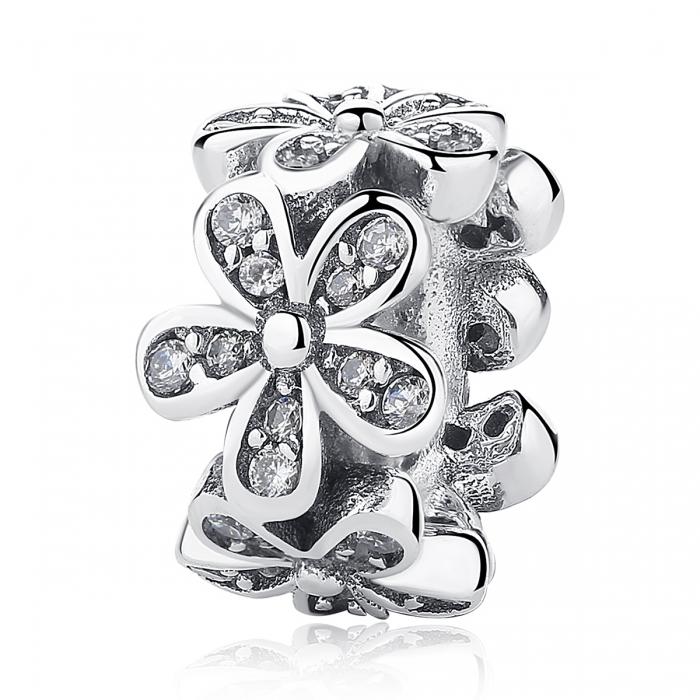 Charm argint 925 cu floricele si zirconii albe - Be Nature PST0052 0