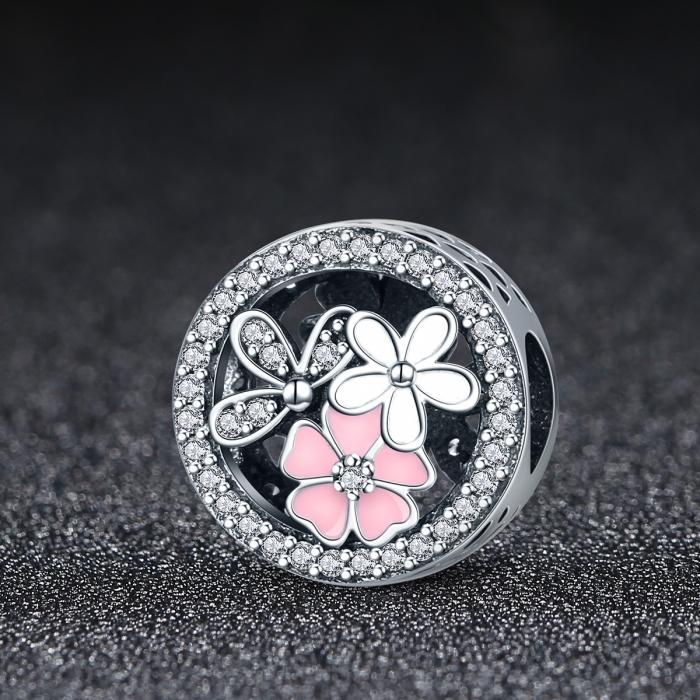 Charm argint 925 cu floricele si zirconii albe - Be Nature PST0080 1