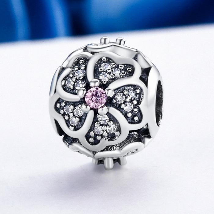 Charm argint 925 cu floricele si zirconii albe - Be Nature PST0088 3