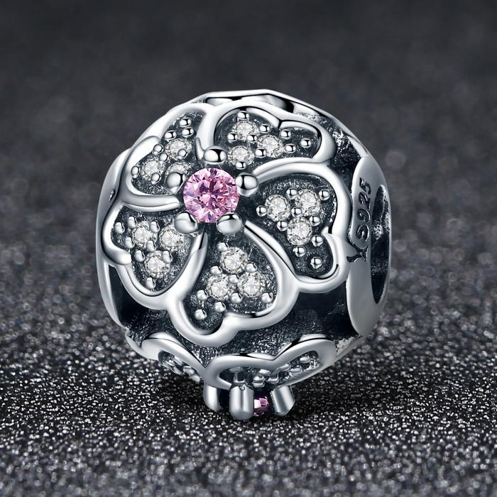 Charm argint 925 cu floricele si zirconii albe - Be Nature PST0088 2