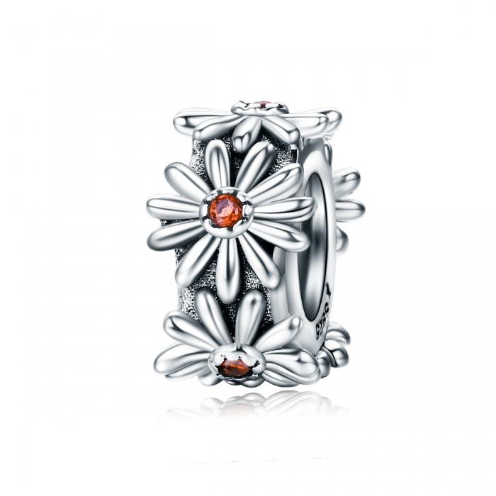 Charm argint 925 cu floricele si zirconii - Be Nature PST0119 [0]