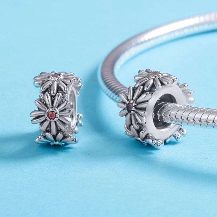 Charm argint 925 cu floricele si zirconii - Be Nature PST0119 [4]