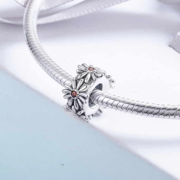 Charm argint 925 cu floricele si zirconii - Be Nature PST0119 [3]