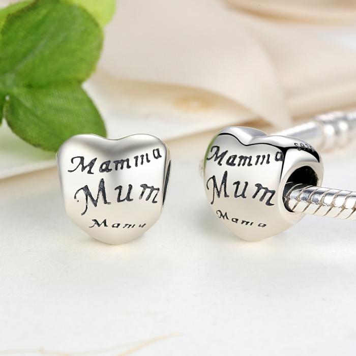 Charm argint 925 cu inimioara Mama - Be in Love PST0019 4