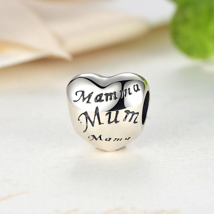 Charm argint 925 cu inimioara Mama - Be in Love PST0019 3