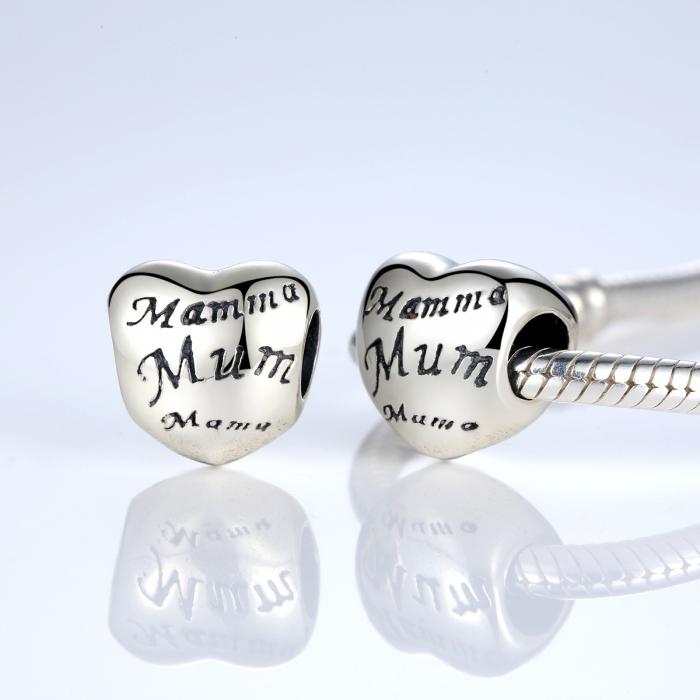 Charm argint 925 cu inimioara Mama - Be in Love PST0019 1