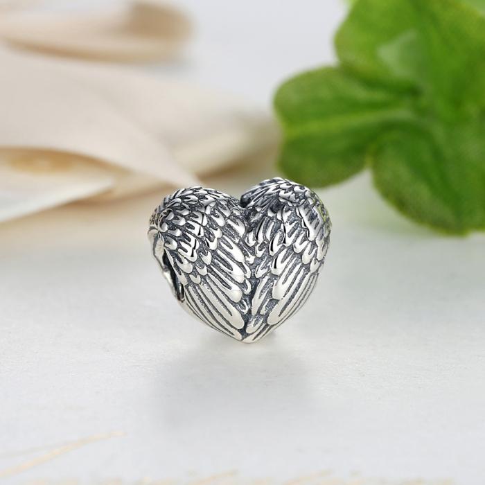 Charm argint 925 cu inimioara si aripi de inger - Be Spiritual PST0015 1