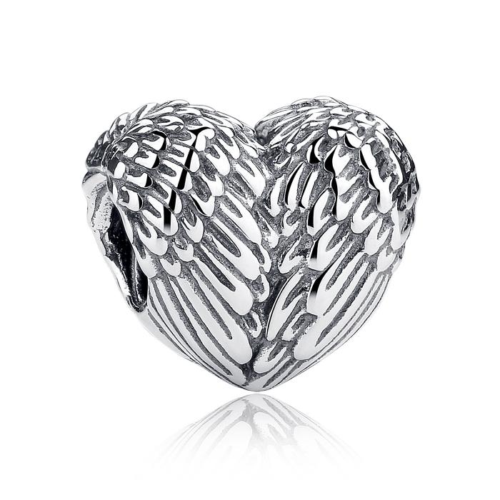 Charm argint 925 cu inimioara si aripi de inger - Be Spiritual PST0015 0