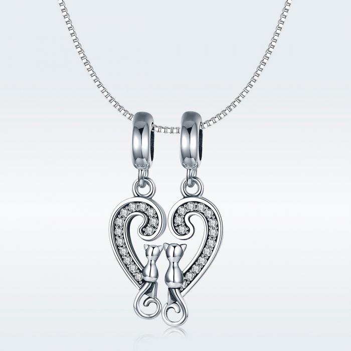 Charm  argint 925 cu inimioara si pisicute - Be Nature PST0126 8