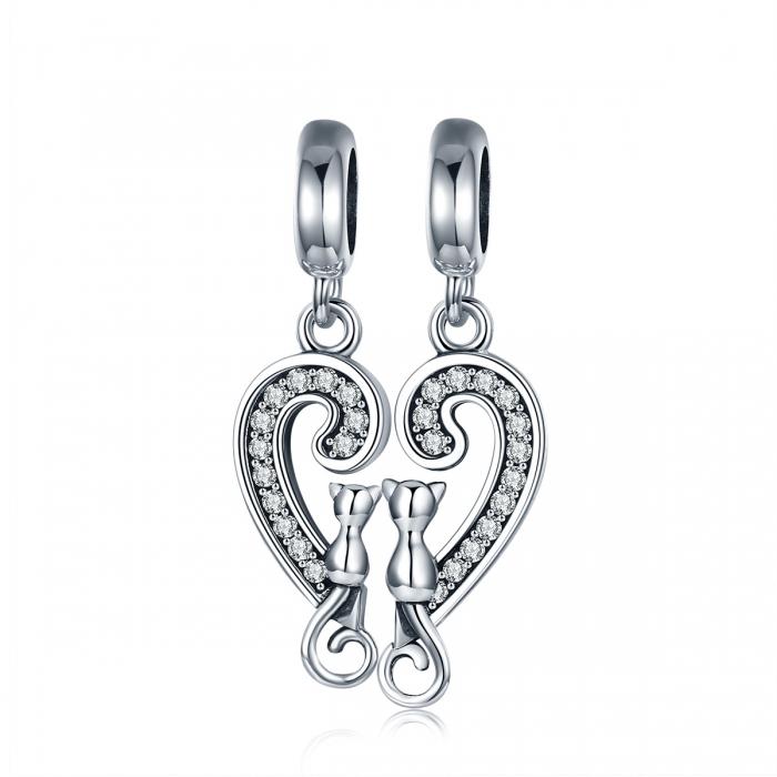 Charm  argint 925 cu inimioara si pisicute - Be Nature PST0126 0