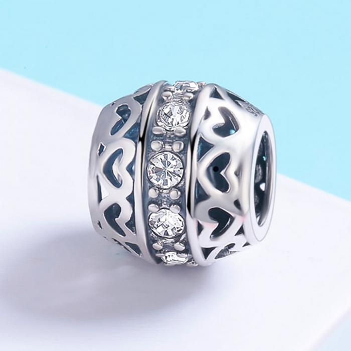 Charm argint 925 cu inimioare si zirconii albe- Be in Love PST0117 2