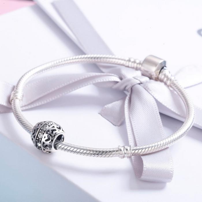 Charm argint 925 cu inimioare si zirconii albe- Be in Love PST0117 3