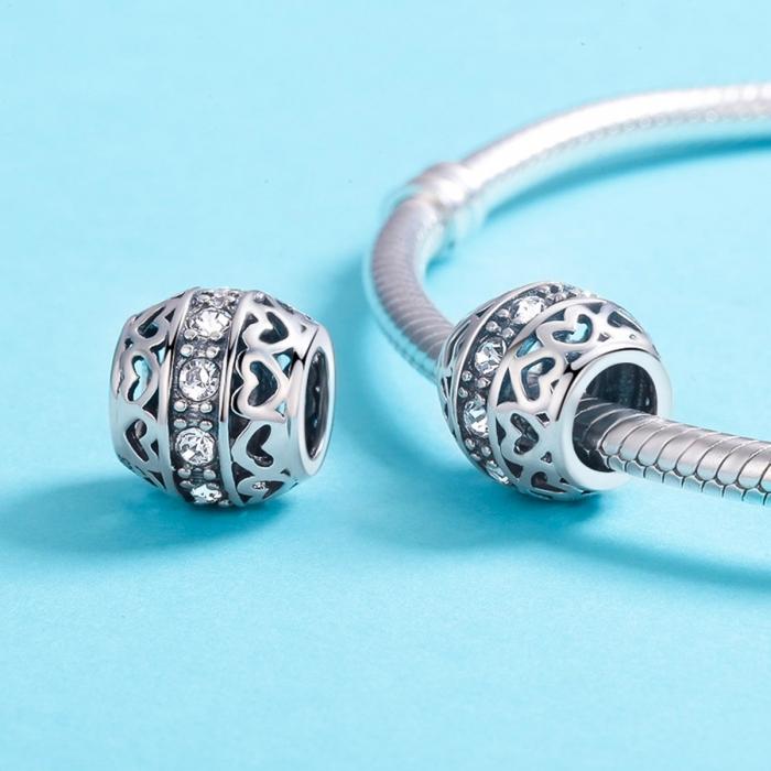 Charm argint 925 cu inimioare si zirconii albe- Be in Love PST0117 4