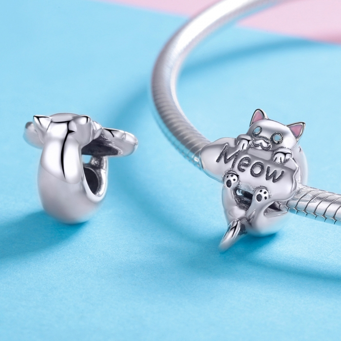 Charm argint 925 cu pisicuta Meow - Be Nature PST0147 2