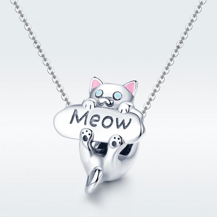 Charm argint 925 cu pisicuta Meow - Be Nature PST0147 3