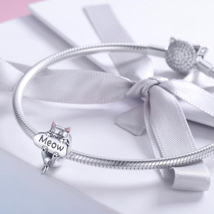 Charm argint 925 cu pisicuta Meow - Be Nature PST0147 1