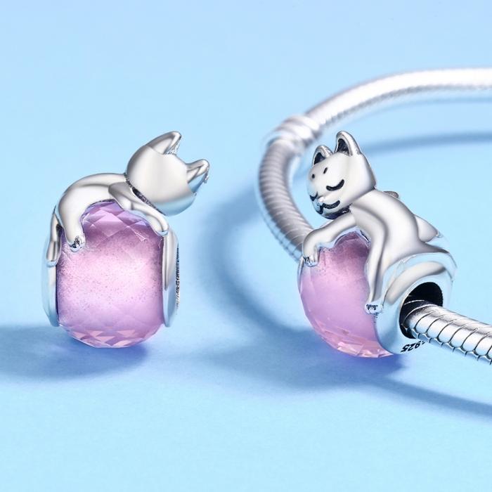 Charm argint 925 cu pisicuta si cristal roz - Be Nature PST0112 [4]