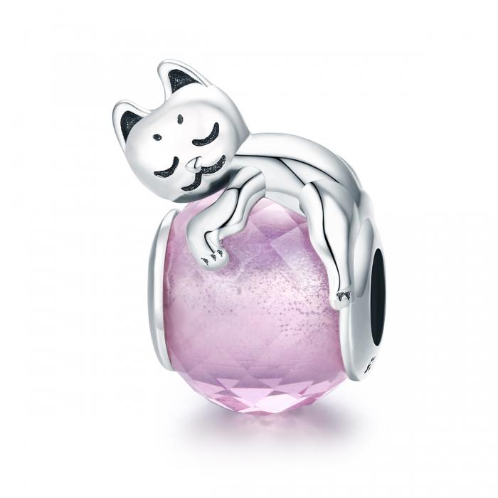 Charm argint 925 cu pisicuta si cristal roz - Be Nature PST0112 [0]