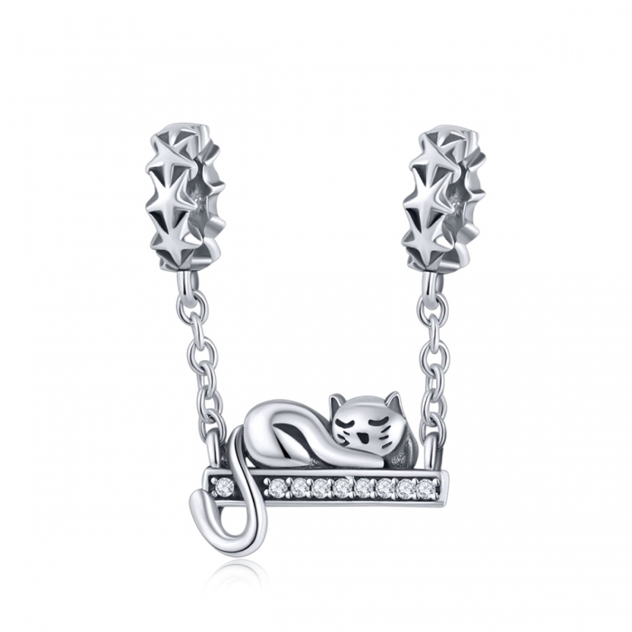 Charm argint 925 cu pisicuta, stelute si zirconii - Be Nature PST0145 0