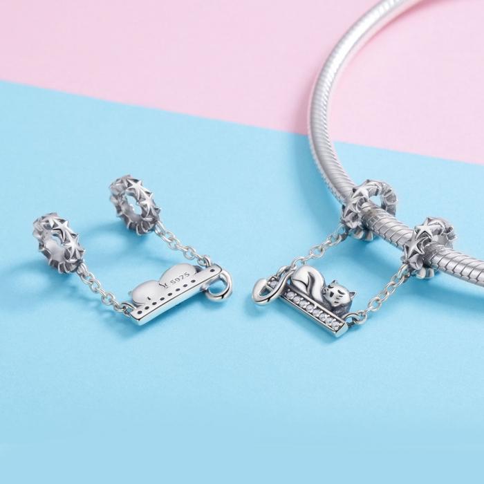 Charm argint 925 cu pisicuta, stelute si zirconii - Be Nature PST0145 1