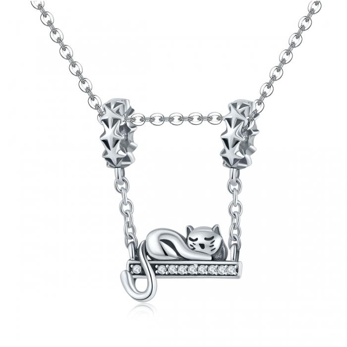 Charm argint 925 cu pisicuta, stelute si zirconii - Be Nature PST0145 4