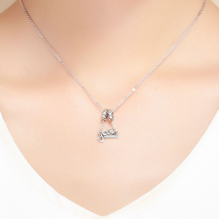 Charm argint 925 cu pisicuta, stelute si zirconii - Be Nature PST0145 3