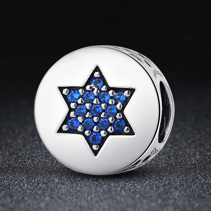 Charm argint 925 cu steluta si zirconii albastre - Be Nature PST0058 1
