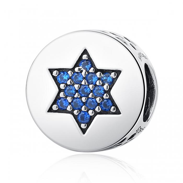 Charm argint 925 cu steluta si zirconii albastre - Be Nature PST0058 0
