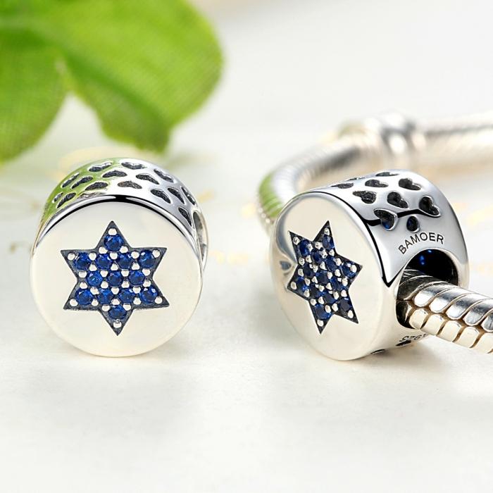 Charm argint 925 cu steluta si zirconii albastre - Be Nature PST0058 2