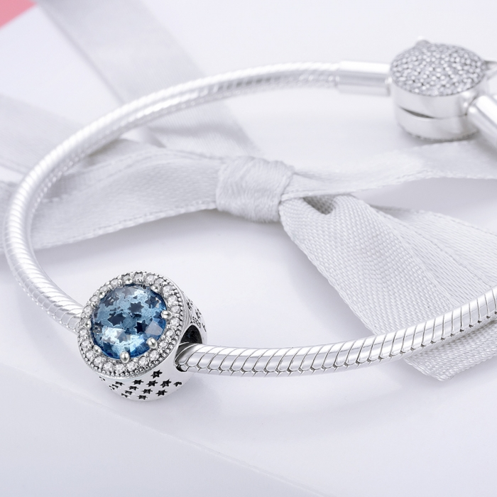 Charm argint 925 cu stelute albastre si zirconii albe - Be Nature PST0135 1