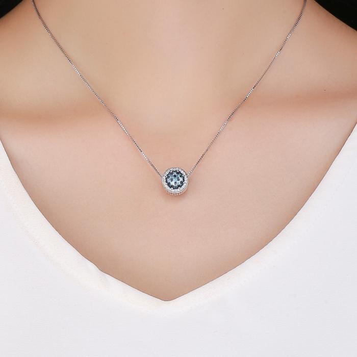 Charm argint 925 cu stelute albastre si zirconii albe - Be Nature PST0135 2