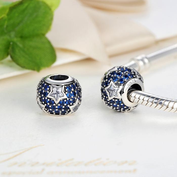 Charm argint 925 cu stelute albe si zirconii albastre - Be Nature PST0022 4