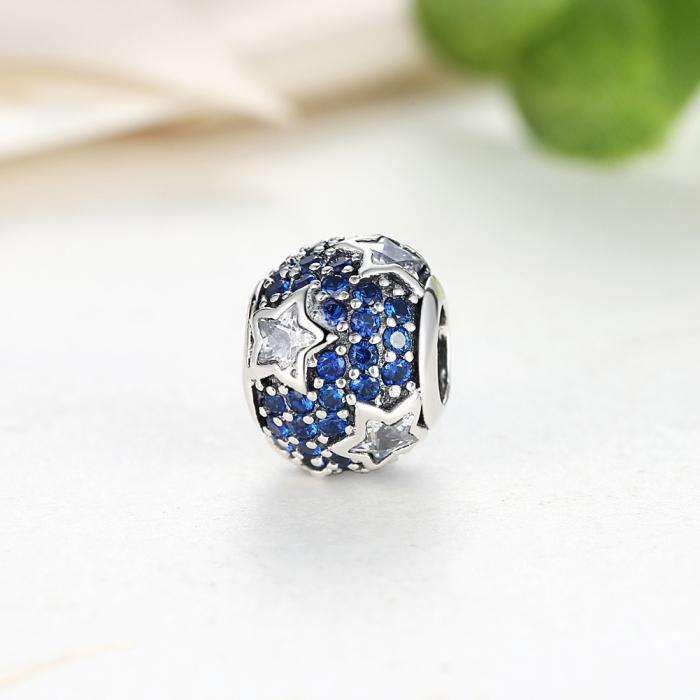 Charm argint 925 cu stelute albe si zirconii albastre - Be Nature PST0022 3