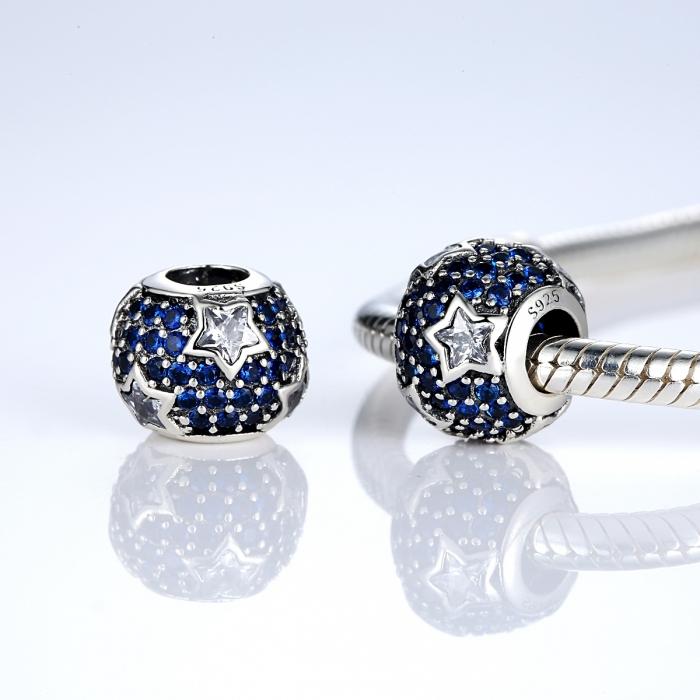 Charm argint 925 cu stelute albe si zirconii albastre - Be Nature PST0022 1