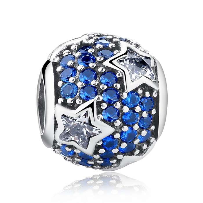 Charm argint 925 cu stelute albe si zirconii albastre - Be Nature PST0022 0