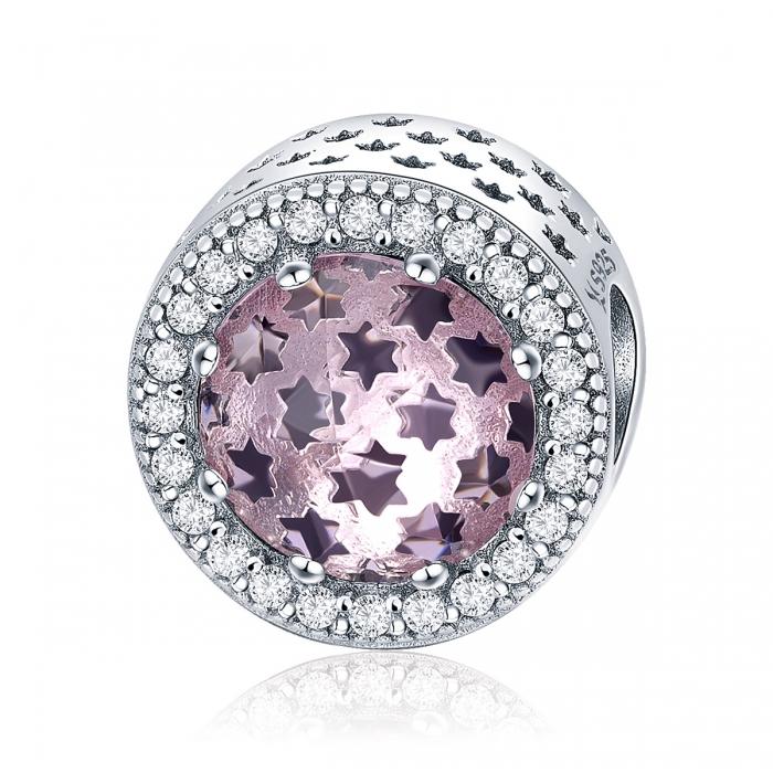 Charm argint 925 cu stelute roz si zirconii albe - Be Nature PST0136 0