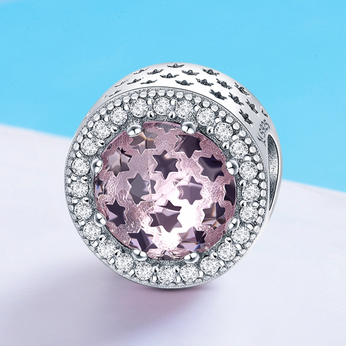 Charm argint 925 cu stelute roz si zirconii albe - Be Nature PST0136 3